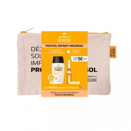 Heliocare Pack 360 Mineral Tolerance Fluido Spf50 50ml + Radiance C Oil-free 10 Amp. + Neceser