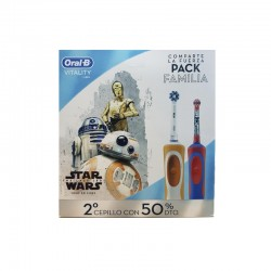 Oral B Pack Familia Cepillo Eléctrico Vitality Crossaction + Stages Power Star Wars